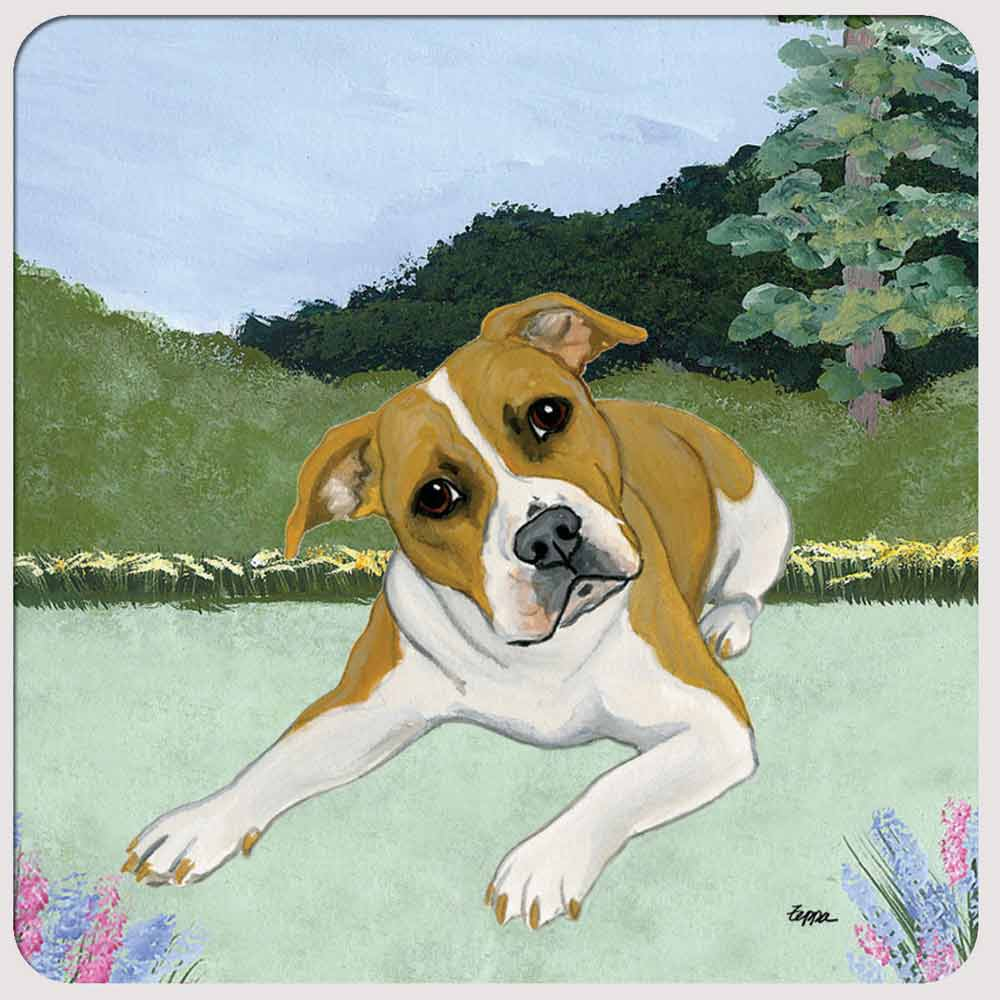 Pitbull Yard Scene Coasters Set of 4 Fawn Uncropped