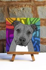 Pitbull Gray Uncropped Colorful Portrait Original Artwork on Ceramic Tile 4x4 Inches