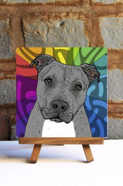 Pitbull Gray Uncropped Colorful Portrait Original Artwork on Ceramic Tile 4x4 Inches