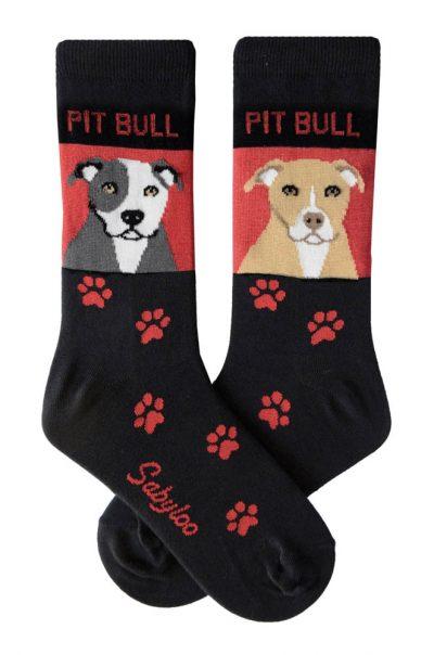 Pitbull Gray/White & Fawn/White Socks - Red & Black in Color