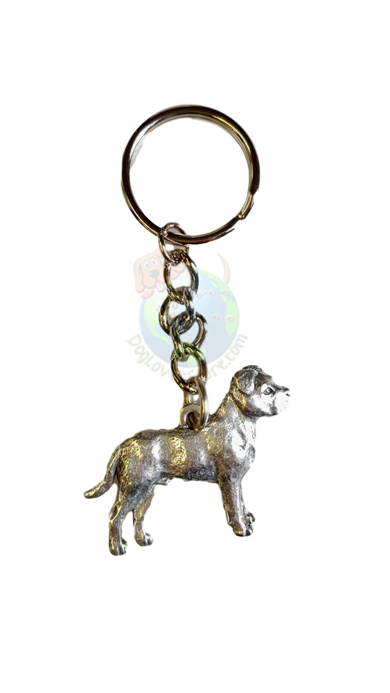 Pitbull Uncropped Pewter Keychain