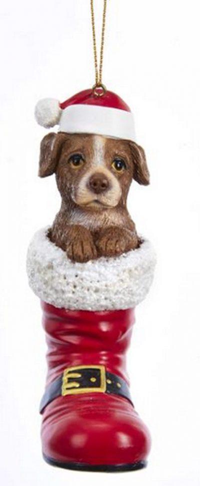 Pitbull Santa Boot Ornament Brown