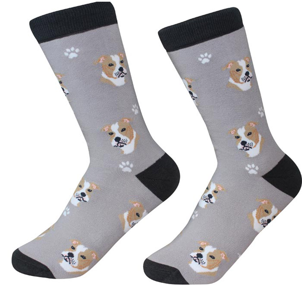 Pitbull Face Pattern Socks Brown Uncropped