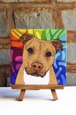 Pitbull Tan Uncropped Colorful Portrait Original Artwork on Ceramic Tile 4x4 Inches