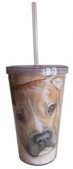 Pitbull Tumbler With Straw Fawn Uncropped