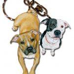 Pitbull Wooden Dog Breed Keychain Key Ring 1