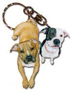 Pitbull Wooden Dog Breed Keychain Key Ring