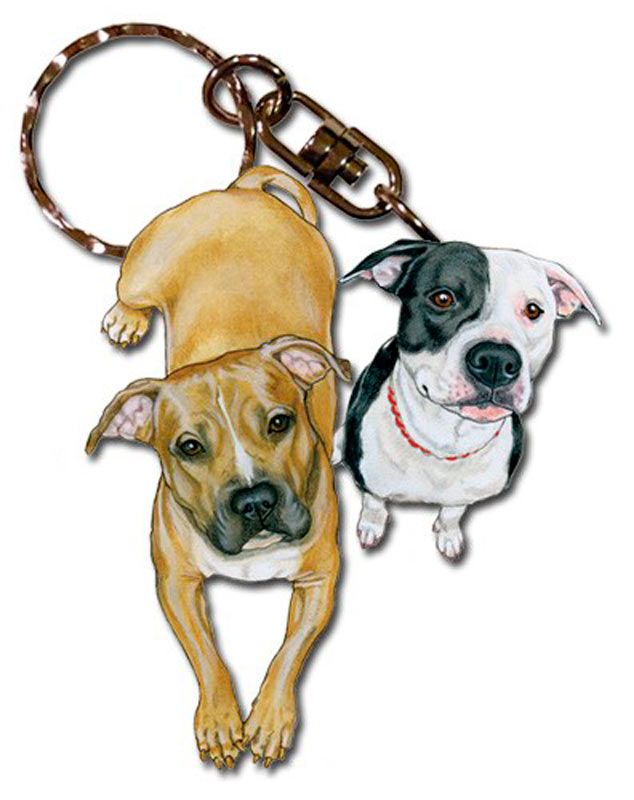 Pitbull Wooden Dog Breed Keychain Key Ring