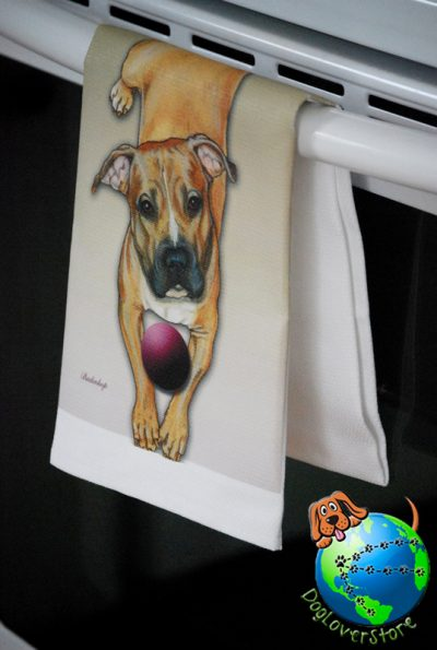 Pitbull Terrier Kitchen Hand Towel Brown 1