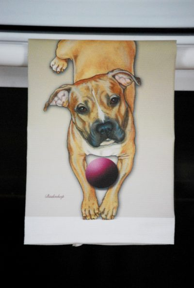 Pitbull Terrier Kitchen Hand Towel Brown 2