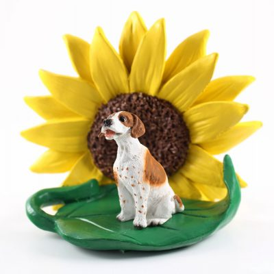Pointer Brown Figurine Sitting on a Green Leaf in Front of a Yellow Sunflower