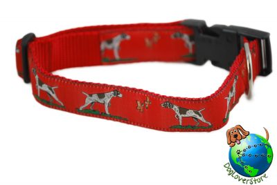 German Shorthair Pointer Dog Breed Adjustable Nylon Collar Large 12-20″ Red 1