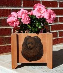 Pomeranian Planter Flower Pot Brown