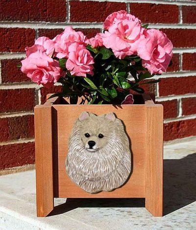 Pomeranian Planter Flower Pot Cream 1