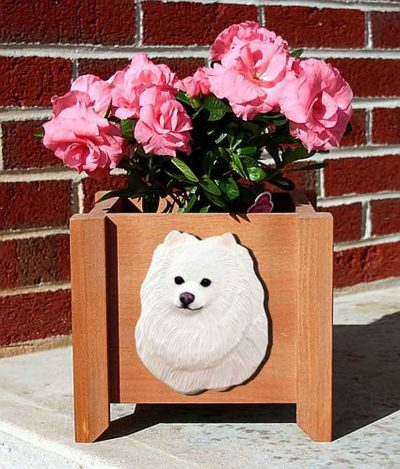 Pomeranian Planter Flower Pot White 1