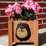 Pomeranian Planter Flower Pot Black Tan 1