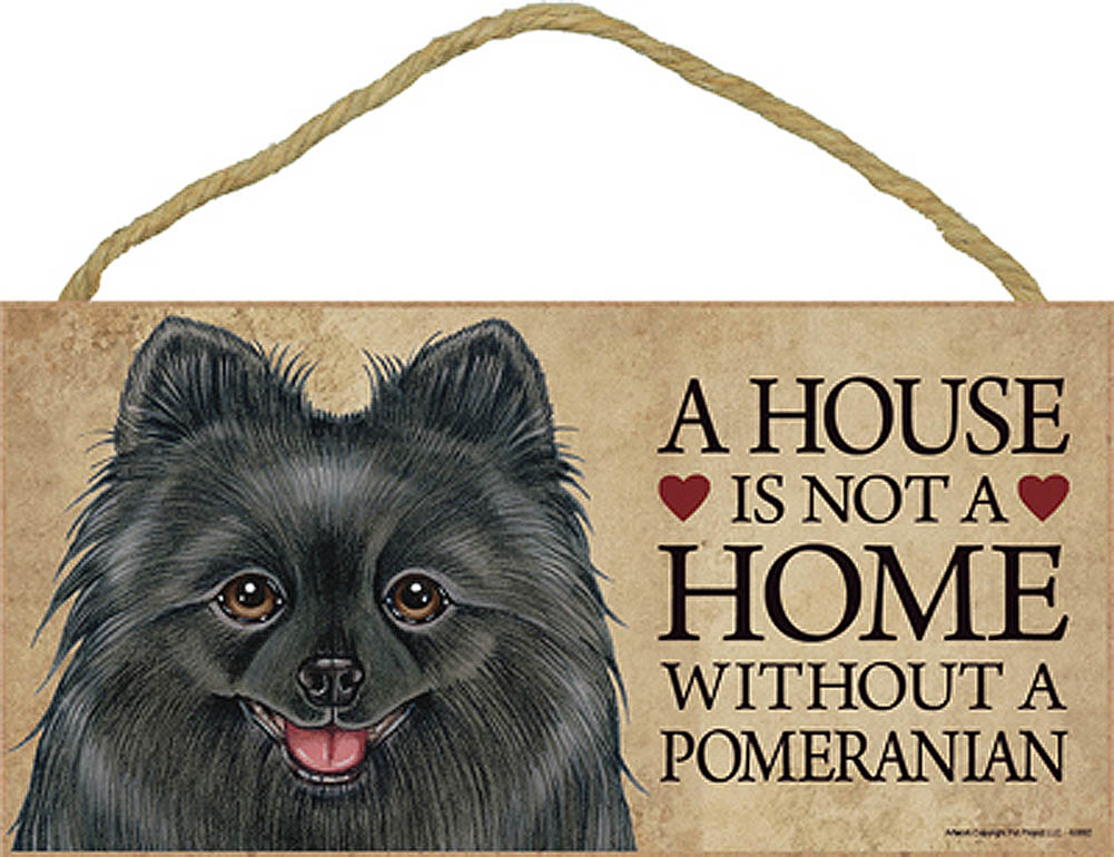 Pomeranian Black Wood Dog Sign Wall Plaque Photo Display 5 x 10 + Bonus Coaster