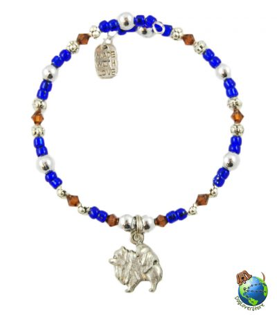 Pomeranian Beaded Charm Bracelet Silver Handmade 1