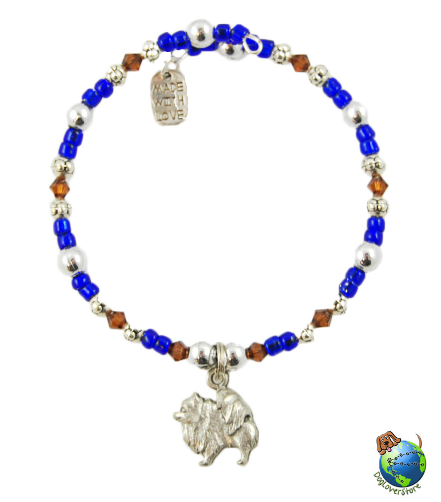 pomeranian beaded charm bracelet silver handmade
