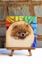 Pomeranian Red Colorful Portrait Original Artwork on Ceramic Tile 4x4 Inches