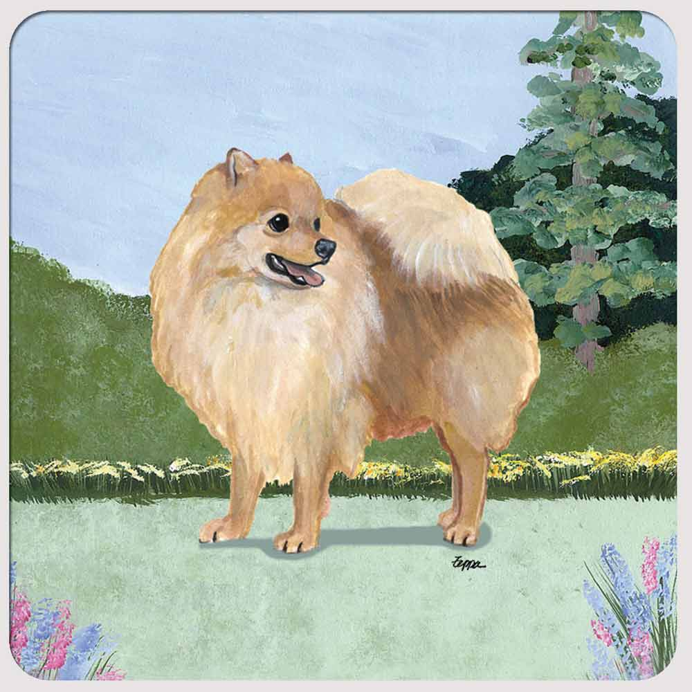 Pomeranian Yard Scene Coasters Set of 4 Red
