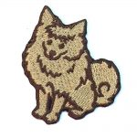 Pomeranian Iron on Embroidered Patch Red