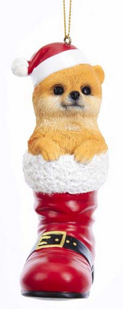 Pomeranian Santa Boot Ornament Red
