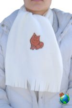 Pomeranian Scarf Cream Fleece Red