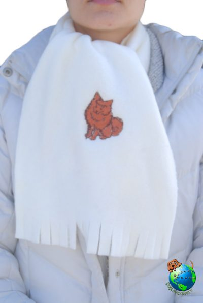Pomeranian Scarf Cream Fleece Red