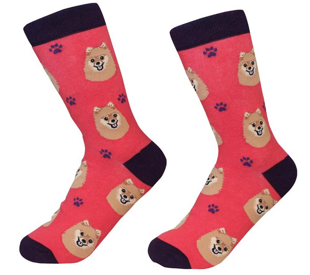 Pomeranian Face Pattern Socks Red