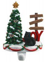 Pomeranian Stocking Holder Hanger Black