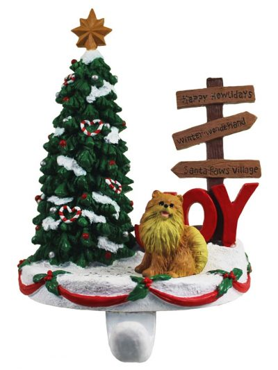 Pomeranian Stocking Holder Hanger Red