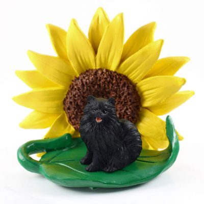 Pomeranian Black Figurine Sitting on a Green Leaf in Front of a Yellow Sunflower