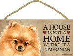 Pomeranian Wood Dog Sign Wall Plaque 5 x 10 + Bonus Coaster