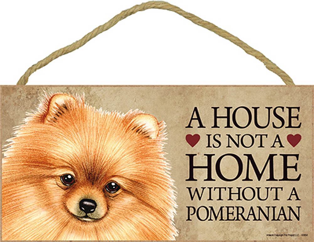 Pomeranian Wood Dog Sign Wall Plaque 5 x 10 + Bonus Coaster