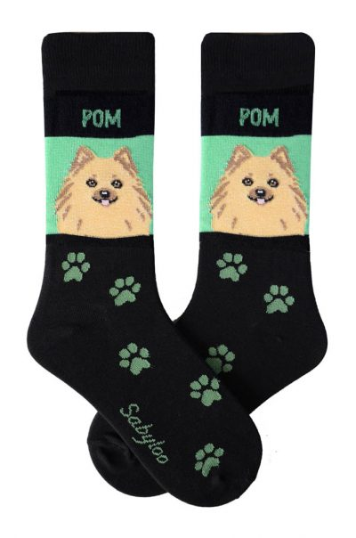 Pomeranian Tan Socks - Black & Green in Color