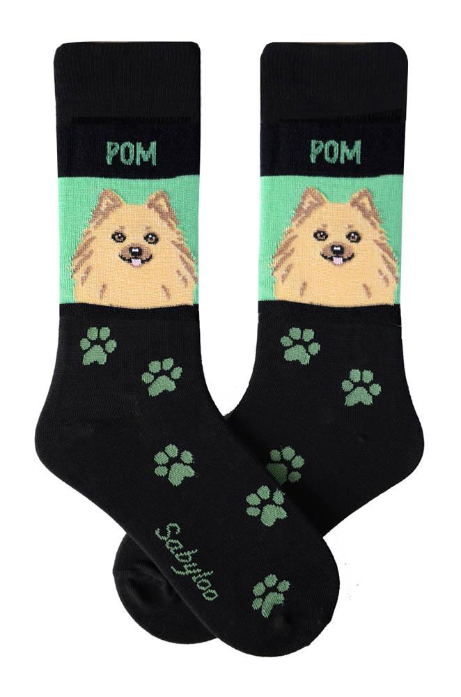 Pomeranian Tan Socks - Black & Green in Color