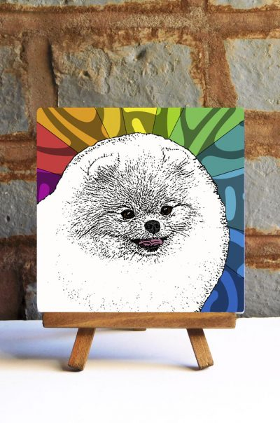Pomeranian White Colorful Portrait Original Artwork on Ceramic Tile 4x4 Inches