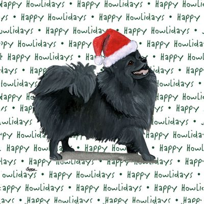 Pomeranian Dog Coasters Christmas Themed Black