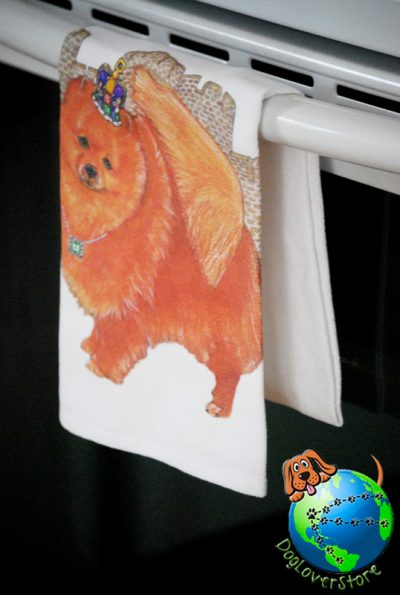 Pomeranian Kitchen Hand Towel Red 1