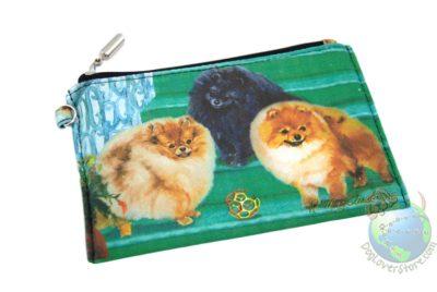 3 Pomeranians Sitting on Steps Design on Zippered Coin Bag