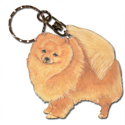 Pomeranian Wooden Dog Breed Keychain Key Ring 1