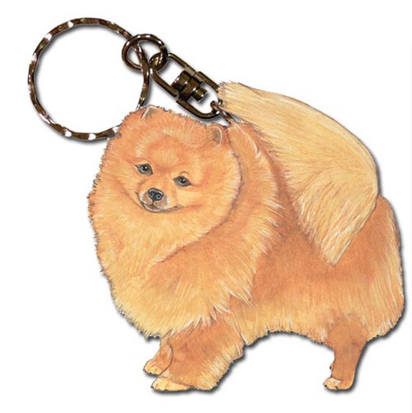 Pomeranian Wooden Dog Breed Keychain Key Ring