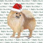 Pomeranian Dog Coasters Christmas Themed Red