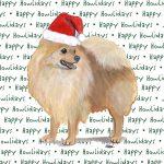 Pomeranian Dog Coasters Christmas Themed Red
