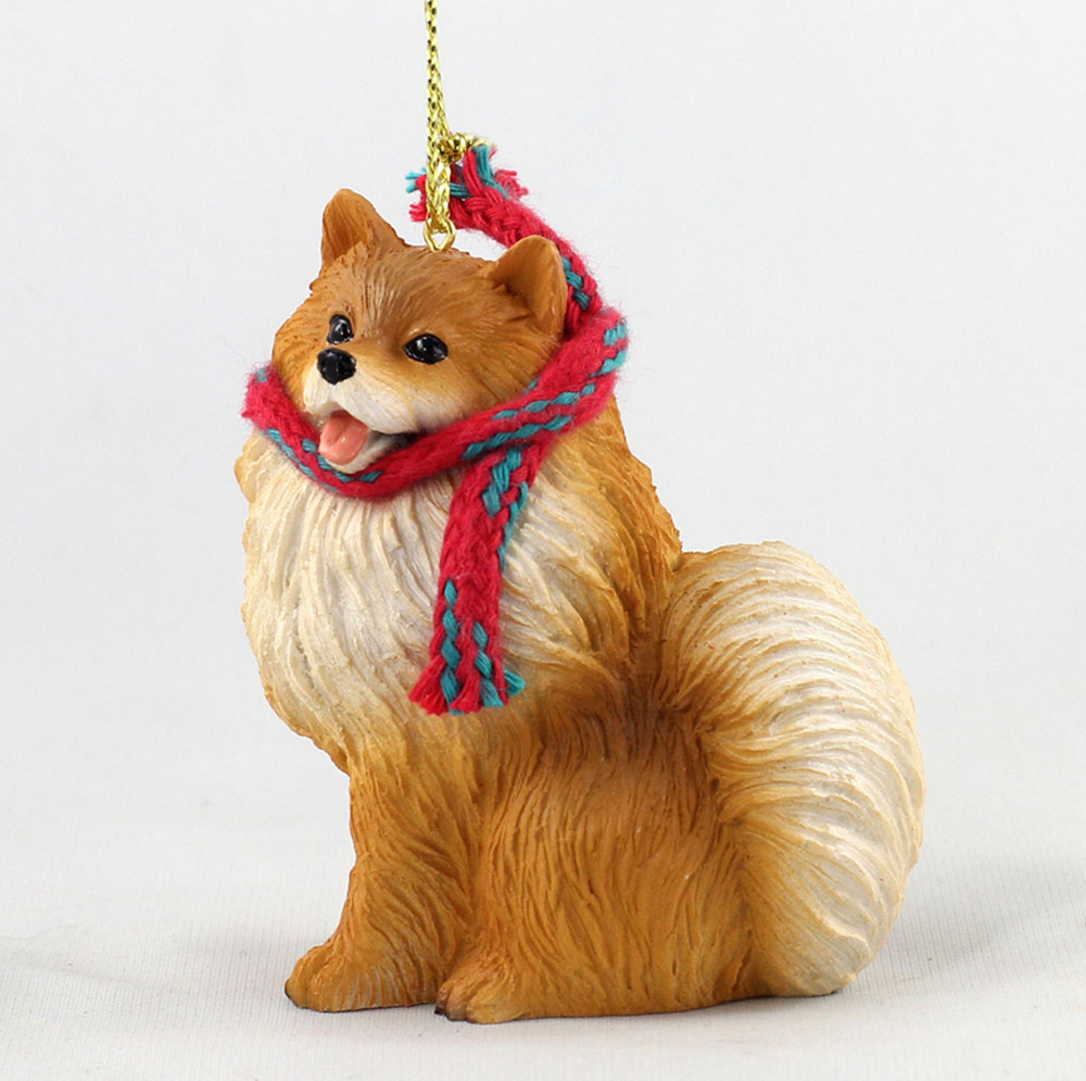 Pomeranian Dog Christmas Ornament Scarf Figurine