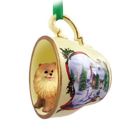 Pomeranian Dog Christmas Holiday Teacup Ornament Figurine