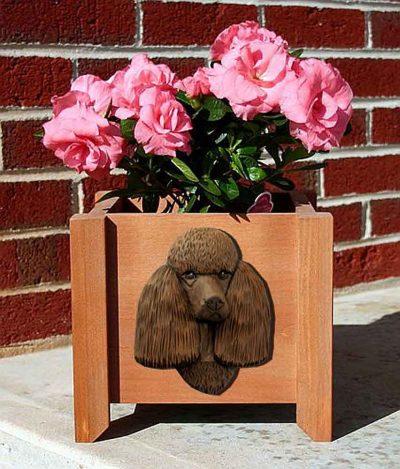 Poodle Planter Flower Pot Brown