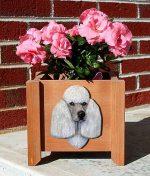 Poodle Planter Flower Pot Grey