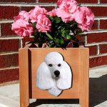 Poodle Planter Flower Pot White 1